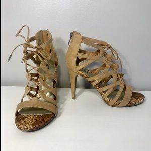 A.N.A Lace Up Heels- Natural